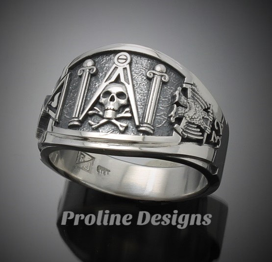 cb129609d8bc5 Masonic Skull and Pillar Ring for Men in Sterling Silver ~ Cigar Band Style  022s