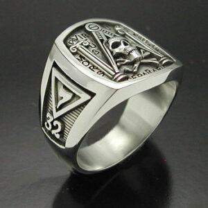 Masonic Skull and Pillar Ring in Sterling Silver ~ Style 012b