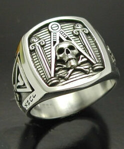 Masonic Skull and Pillar Ring in Sterling Silver with Oxidized Finish ~ Style 012a