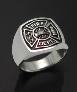 Mens Fireman Ring in Sterling Silver ~ Style 023