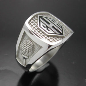 Men's monogrammed golf style ring.