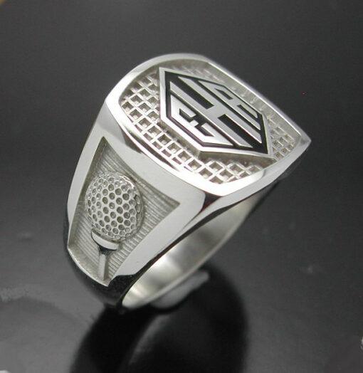 Men's monogrammed golf style ring.