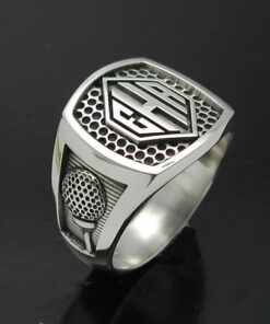 Men's monogrammed golf style ring oxidized.