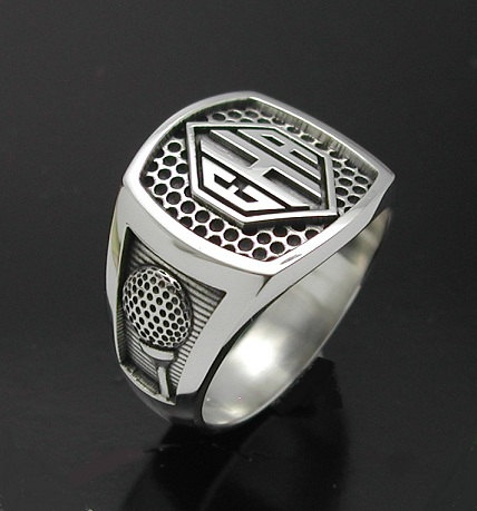 Men's monogrammed golf style ring with oxidized finish