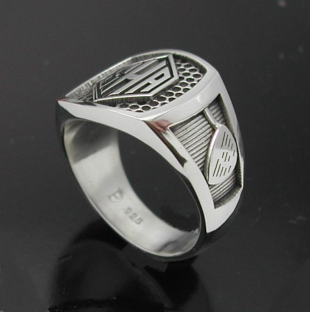 Men S Monogrammed Golf Style Ring With Oxidized Finish