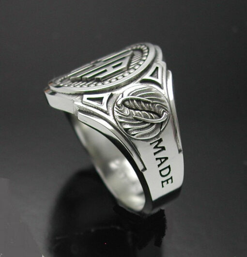 Monogram Cigar Band Mens Ring in Sterling Silver ~ Style 015