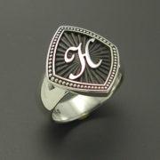 Monogrammed Ladies Sterling Silver Ring