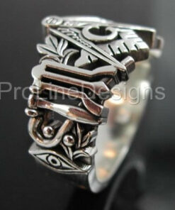 Monogrammed Masonic Ring in Sterling Silver ~ Style 002M