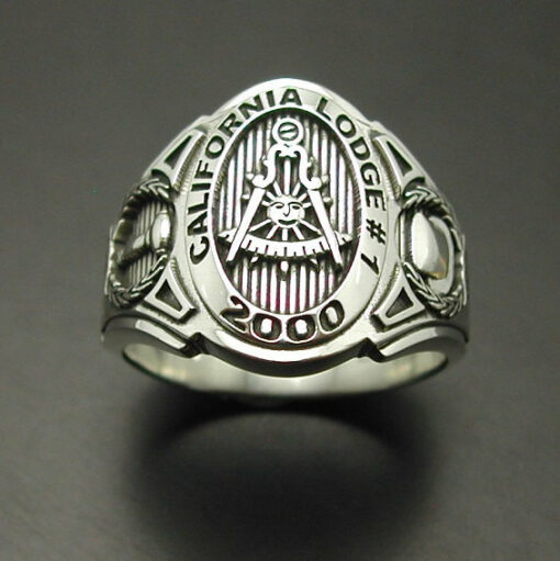 Past Master California Custom Lodge Ring in Sterling Silver ~ Cigar Band Style 018C