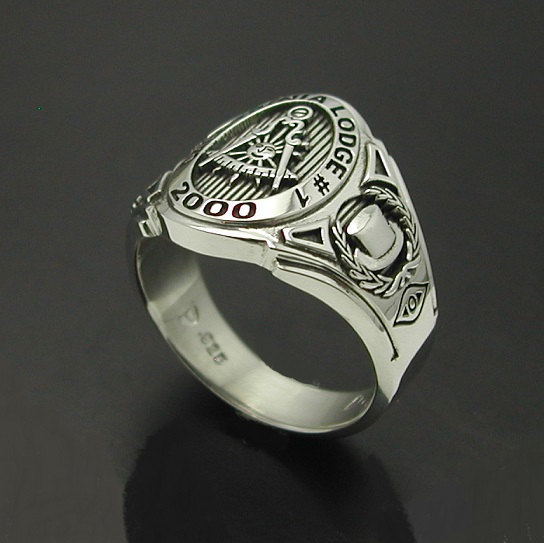 Custom for Arnulfo P. ~ Gold Past Master California Custom Lodge Ring ~ Cigar Band Style 018C ~ Size 10.5 ~ 14k White Gold