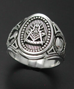 Past Master Masonic Ring in Sterling Silver ~ Cigar Band Style 018
