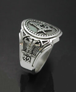 Scottish Rite 32nd Degree Double Eagle Ring in Sterling Silver ~ Cigar Band Style 025