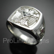 Scottish Rite 32nd Degree Double Eagle Ring in Sterling Silver ~ Style 005