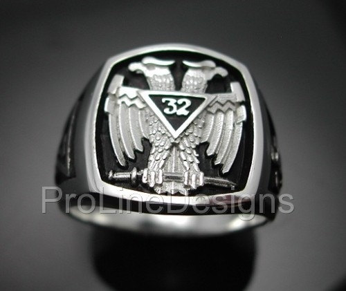 Scottish Rite 32nd Degree Double Eagle Ring in Sterling Silver ~ Style 005B