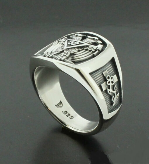 Scottish Rite 32nd Degree Double Eagle Ring in Sterling Silver with Oxidized Finish ~ Style 005O