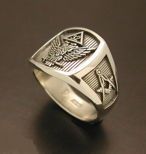 Scottish Rite 32nd Degree Double Eagle Ring with Wings up in Sterling Silver ~ Style 030