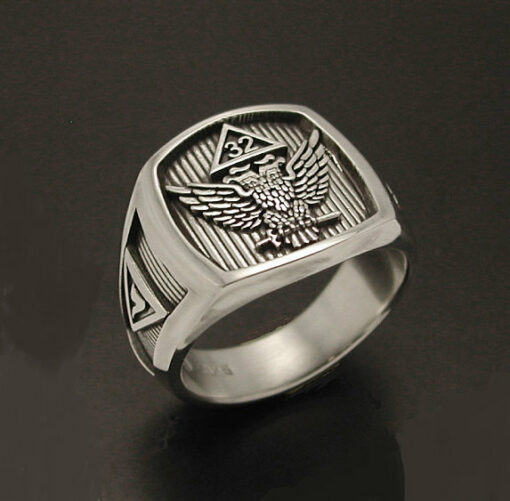 Scottish Rite 32nd Degree Double Eagle Ring with Wings Up in Sterling Silver ~ Style 031