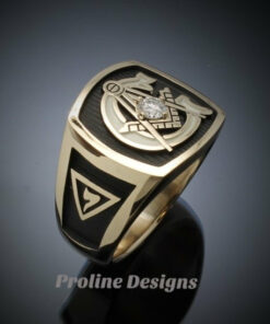 Scottish Rite Masonic Ring in Gold with 3mm Diamond ~ Style 020
