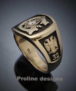 Scottish Rite Masonic Ring in Gold with 3mm Diamond ~ Style 020