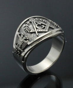 Scottish Rite Ring, Masonic ring for Men in Sterling Silver ~ Cigar Band Style 029