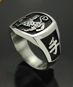 Shotokan Tiger Karate Ring in Sterling Silver ~ Style 016