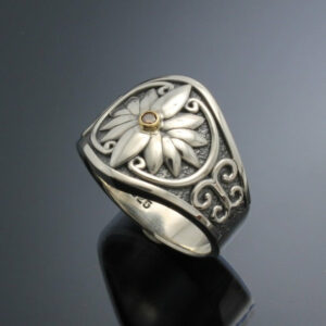 Sterling Silver Ladies Floral Band with Diamond~ Handmade Original Design