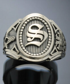Sterling Silver Masonic Ring with Single Monogram ~ Cigar Band Style 037