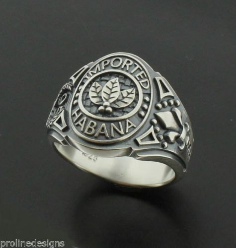 Tobacco Leaves Imported Habana Mens Ring in Sterling Silver ~ Cigar Band Style 050