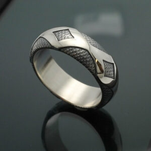 "Wedding Band ~ ""Diamondback"" in Palladium Silver with Antique Finish"