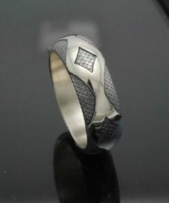 "Wedding Band ~ ""Diamondback"" in Palladium Silver with Antique Finish"