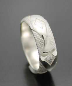 "Wedding Band ~ ""Diamondback"" in Palladium Silver with Polished Finish"