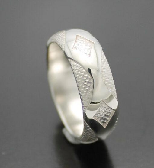 "Wedding Band ~ ""Diamondback"" in Palladium Silver with Polished Finish"