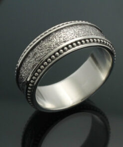 "Wedding Band ~ ""The Cuban"" in Palladium Silver with Antique Finish"