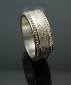 "Wedding Band ~ ""The Cuban"" in Palladium Silver with Polished Finish"