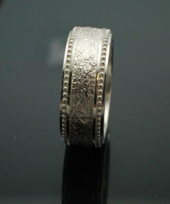 """Wedding Band ~ """"The Cuban"""" in Palladium Silver with Polished Finish"""