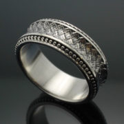 """Wedding Band ~ """"The Path"""" in Palladium Silver with Antique Finish"""