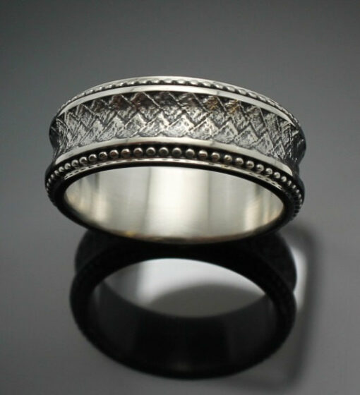 "Wedding Band ~ ""The Path"" in Palladium Silver with Antique Finish"