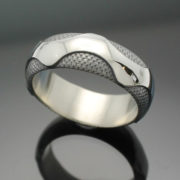 "Wedding Band ~ ""The Wave"" in Palladium Silver with Antique Finish"