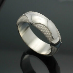 "Wedding Band ~ ""The Wave"" in Palladium Silver with Polished Finish"