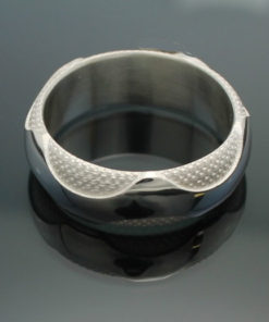"""Wedding Band ~ """"The Wave"""" in Palladium Silver with Polished Finish"""