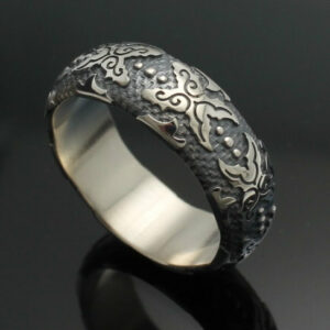 Wedding Band The Western In Palladium Silver With Antique