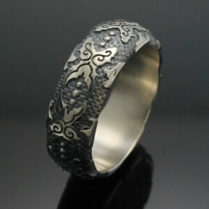 "Wedding Band ~ ""The Western"" in Palladium Silver with Antique Finish"