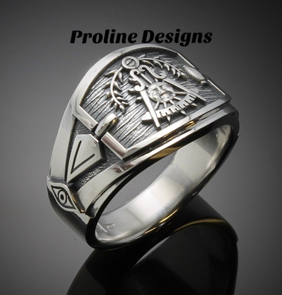 California Past Master Ring for Men in Sterling Silver ~ Cigar Band Style 027CP