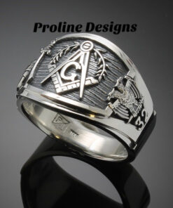 Scottish Rite and Shriner Masonic Ring in Sterling Silver ~ Cigar Band Style 027ss