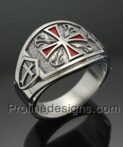 Knights Templar Cross Ring in Sterling Silver ~ Cigar Band Style 028