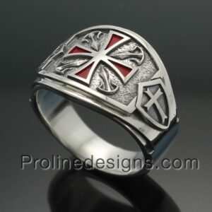 Knights Templar Masonic Ring in Sterling Silver ~ Cigar Band Style 028