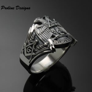 Scottish Rite 32nd Degree Double Eagle Ring in Sterling Silver ~ Cigar Band Style 045