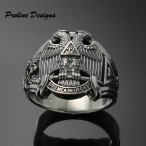 Masonic Philippine Flag Ring for Men in Sterling Silver ~ Cigar Band Style 044a