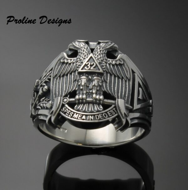 Custom for William L. ~ Scottish Rite 32nd Degree Double Eagle Ring in Sterling Silver ~ Cigar Band Style 045