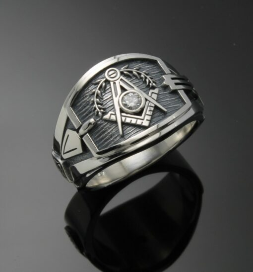 Masonic Ring for Men in Sterling Silver ~ Cigar Band Style 027a with a 3mm Moissanite